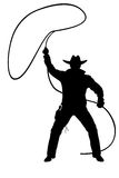 Illustration of cowboy with lasso. Illustration black silhouette of cowboy with lasso Royalty Free Stock Images