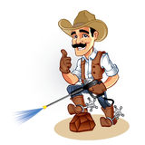 Illustration of a cowboy  with water blaster pressure power washing sprayer Stock Photo