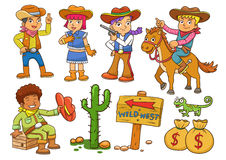 Illustration of cowboy Wild West child cartoon. Stock Photo
