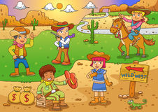 Illustration of cowboy Wild West child cartoon. Royalty Free Stock Photography
