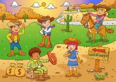 Illustration of cowboy Wild West child cartoon. Royalty Free Stock Photography