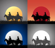 Illustration of cowboys riding horse Stock Image