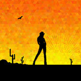 Illustration of cowgirl silhouette Stock Photos