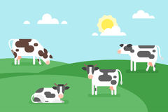 Illustration of cows graze in a field. Vector flat style illustration of cows graze in a field. Good sunny day. Nature background royalty free illustration