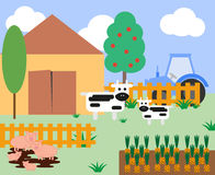 Illustration of cows and pigs at the farm. With a barn and fence Stock Photos