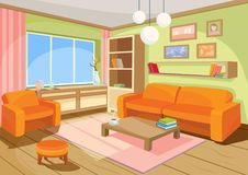 Illustration of a cozy cartoon interior of a home room, a living room. With a sofa, coffee table, chest of drawers, shelf and window stock illustration