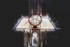 Illustration créative - cercle public de terrain de basket - art moderne numérique abstrait Images libres de droits