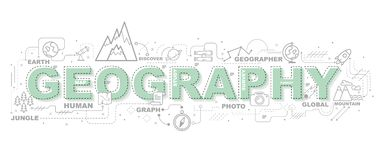 Illustration créative de géographie avec la ligne icône illustration stock