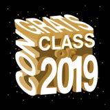 Illustration créative de typographie de vecteur de classe de Congrats de 2019 illustration libre de droits