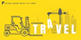 Illustration créative de vecteur d'Infographic de chariot élévateur des textes de voyage Photographie stock libre de droits