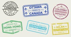 Illustration créative de vecteur de l'ensemble international de timbre de passeport de visa de voyage d'affaires d'isolement sur  illustration libre de droits