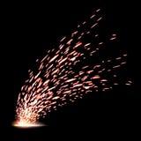 Illustration créative des étincelles du feu en métal de soudure d'isolement sur le fond Conception d'art pendant le calibre de co illustration libre de droits
