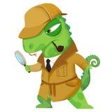 Illustration créative et art innovateur : Détective Lizard - conception de personnages illustration de vecteur