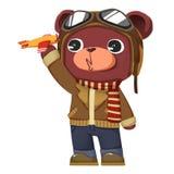Illustration créative et art innovateur : Pilote Bear - conception de personnages Photographie stock libre de droits