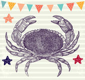 Illustration with crab Stock Images
