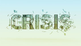 illustration of cracked word crisis  on color bacground, financial, world, war disaster concept render Stock Photo