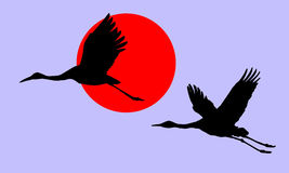 Illustration of the cranes Royalty Free Stock Image