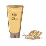 illustration of cream tube and live snail nearby Stock Photos