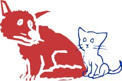 Animal hospital veterinarian sad doctor logo seal dog cat mammal. An illustration created for an Veterinarian animal hospital type situation.  Sad animals that Royalty Free Stock Image