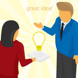 Illustration creative idea. Ideas Sharing. Vector illustration of a good idea. Brainstorm Royalty Free Stock Images