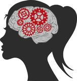 Illustration Creative woman brain and gear vector template. royalty free illustration