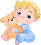 Creeping Baby & Teddy Bear Royalty Free Stock Photography