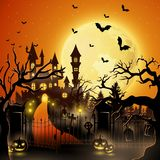 Creepy graveyard with castle and pumpkins. Illustration of Creepy graveyard with castle and pumpkins Stock Photography
