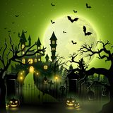 Creepy graveyard with castle and pumpkins. Illustration of Creepy graveyard with castle and pumpkins Royalty Free Stock Image