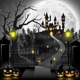 Creepy graveyard with castle and pumpkins. Illustration of Creepy graveyard with castle and pumpkins Stock Image