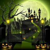 Creepy graveyard with castle and pumpkins. Illustration of Creepy graveyard with castle and pumpkins Royalty Free Stock Photography
