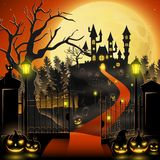 Creepy graveyard with castle and pumpkins. Illustration of Creepy graveyard with castle and pumpkins Stock Photos