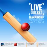 Cricket bat on sports background Royalty Free Stock Photography