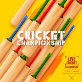 Cricket bat on sports background Royalty Free Stock Photos