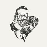 Illustration of crime Santa Claus. Black and white style Stock Photography