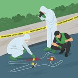 Crime Scene Investigation Vector Illustration. Illustration of crime scene investigation. Criminologist and police officer Royalty Free Stock Photography