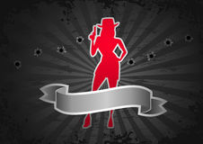 Illustration on the 'Crime' theme. Silhouette of a gangster girl on the dark gray background with the bullet holes and scroll banner on the foreground stock illustration