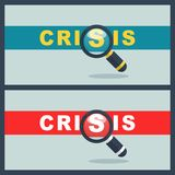Crisis word with magnifier concept. Illustration of crisis word with magnifier concept Royalty Free Stock Images