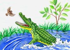 Illustration crocodile and bird Stock Photos