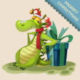 Illustration: The Crocodile Monster Comes to wish You Merry Christmas! Stock Image