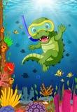 Crocodiles snorkeling in underwater sea. Illustration of Crocodiles snorkeling in underwater sea Royalty Free Stock Photo