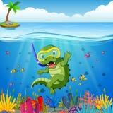 Crocodiles snorkeling underwater sea stock illustration