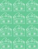 Illustration croquis Fond de turquoise avec des cassettes de musique Photos stock