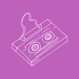 Illustration croquis Fond lilas avec la cassette de musique Images libres de droits