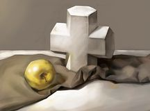 Illustration of a cross and an Apple vector illustration