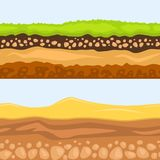 Illustration of cross section of ground agriculture country gardening ground slices land piece nature outdoor vector. royalty free illustration