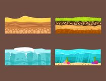 Illustration of cross section of ground agriculture country gardening ground slices land piece nature outdoor vector. Royalty Free Stock Photo