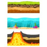Illustration of cross section of ground volcano country gardening ground slices land piece nature outdoor vector. Royalty Free Stock Photo