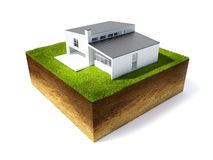 Illustration of cross section of ground. 3d illustration of cross section of ground and home with grass isolated on white Stock Photos