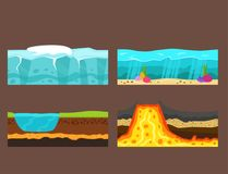 Illustration of cross section of ground volcano country gardening ground slices land piece nature outdoor vector. royalty free illustration