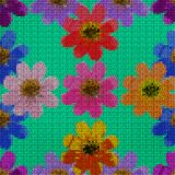 Illustration. Cross-stitch. Cosmos. Seamless pattern. Royalty Free Stock Photo